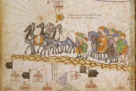 Caravan on the Silk Road. Cresques Abraham c.1380 from Atlas Catalan
